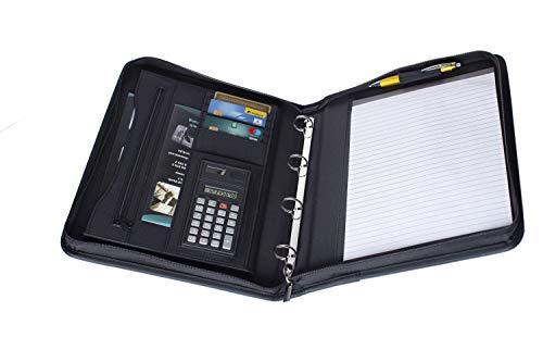 Projects Oxford - Carpeta de negocios de microfibra (2 bolsillos delanteros con cremallera y asa, con compartimentos y calculadora, organizador y portalápices, a rayas, DIN A4)