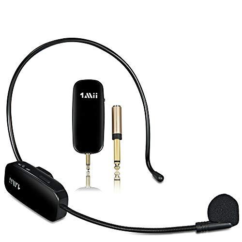 1Mii 2.4G Wireless Microphone, 2 in 1 Headset und Handheld Headset Mikrofon, Wiederaufladbare Drahtloses Mikrofon für Sprachverstärker, Lautsprecher, PA Lautsprecher