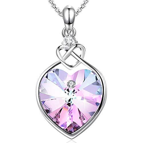 Angelady Amante Corazón Colgante Collar Cristales de Swarovski, Collar para Mujeres Día de San Valentín Día de la Madre Regalo de cumpleaños para la novia de la madre