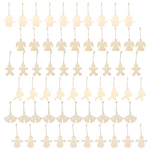EXCEART 60pcs Wooden Christmas Ornaments Unfinished Christmas Tree Ornament Angel Santa Snowman Snowfake Cutouts with Rope for Xmas Holiday Decor