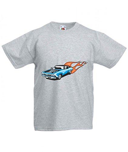 Camiseta azul para coche deportivo Motor V8 con fuego Amy Estados Unidos Auto Car Ampliación V8 V12 Motor Llanta Tuning Mustang Cobra para hombre mujer niños 104 – 5 x l gris Talla del hombre: 5X-Large