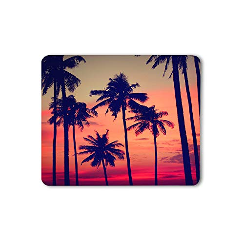 Moslion Coconut Palm Mouse Pad Tree Summer Sunset Nightfall Clouds Sky Fantastic Landscape Gaming Mouse Mat Non-Slip Rubber Base Thick Mousepad for Laptop Computer PC 9.5x7.9 Inch