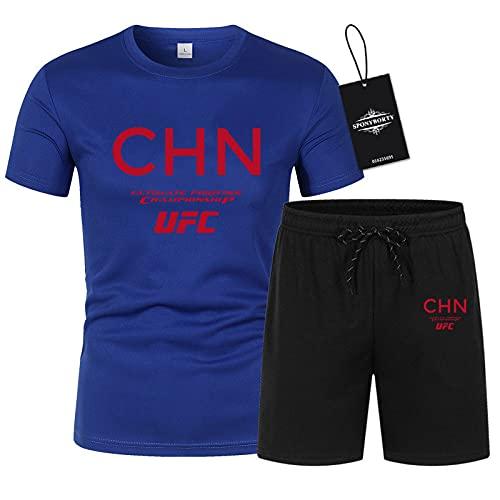 MQJUNZE Polo Dos Piezas Camisas Camiseta Bermudas Manga Corta UFC Impresión Parte Superior Hombres Y Mujer Algodón Casual Chandal Conjunto Sudadera Tee Código Postal/blue/XXL