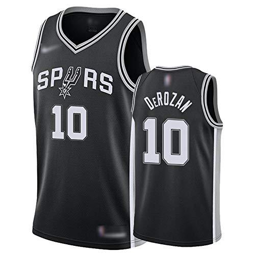 ATI-HSKJ Männer Basketball-Trikots San Antonio Spurs 10# Demar DeRozan Sport Tops Basketball Westen Schnelltrocknende Ärmel Jersey Schwarz BH374,L:175cm~180cm