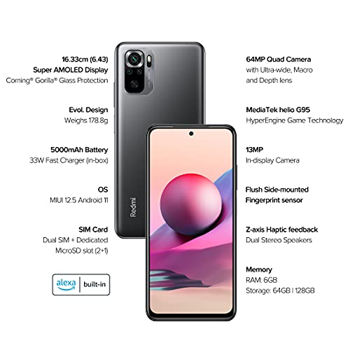 Redmi Note 10S (Shadow Black, 6GB RAM, 64GB Storage) - Super Amoled Display   64 MP Quad Camera   6 Month Free Screen Replacement (Prime only) Extra INR 1000 Off Through Coupons