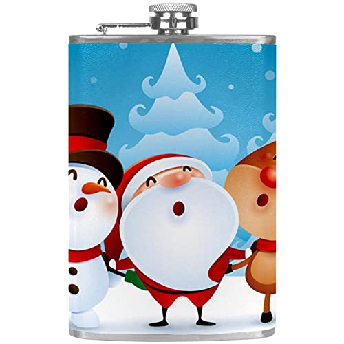 Petaca pequea para licor para mujer a prueba de fugas frasco de cuero con embudo Discreto Shot Beber de alcohol Regalo para hombres Navidad Santa Claus mueco de nieve Elk Deer