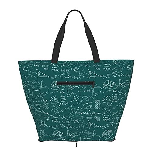 Bolsa de compras Ecuaciones Matemáticas Eco Bolsa para Mujeres Adolescentes Niñas Moda Bolsas de Hombro Bolsa Tote Bolsa para Viajes Escuela Libros