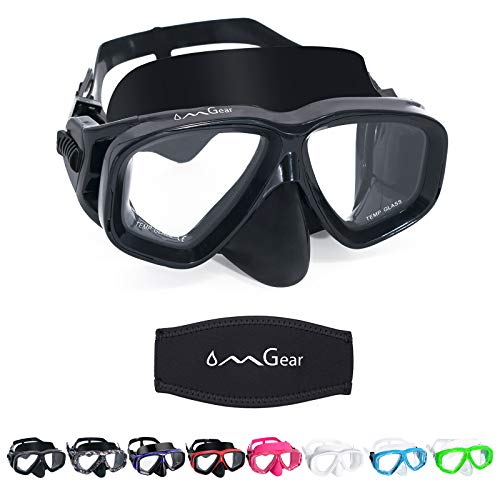 OMGear Junior Swimming Goggles with Nose Cover Adult Scuba Diving Mask Black Dive Glasses Snorkeling Goggles Snorkel Gear Kids Anti-Fog Swim Mask (Black)