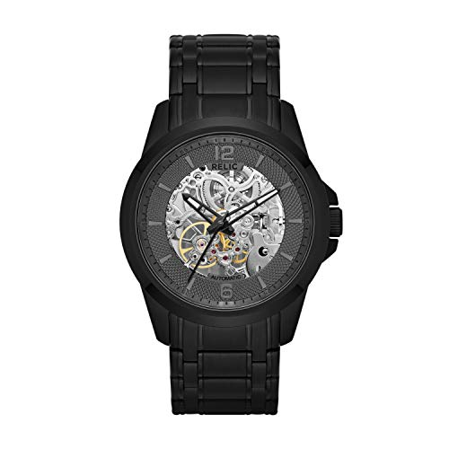 Relic by Fossil Men's Cameron Automatic Self-Winding Stainless Steel IP Skeleton Dial Watch, Color: Black (Model: ZR12110)
