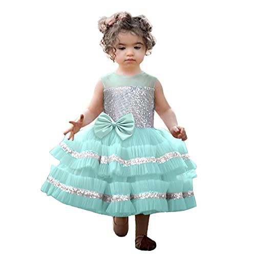 Kids Girls Christamas Dress Infant Baby Girls Paillette Bowknot Tulle Pageant Gown Xmas Party Princess Wedding Mini Dress Blue