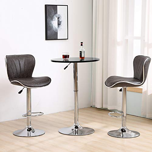 BonChoice Adjustable Bar Table Set, Round Bar Table with 2 Retro Grey Bar Stools for Breakfast Pub Counter Kitchen, PU Leather Barstool Chairs Bistro Set (Black Table+ 2Pcs Retro Grey Barstools)