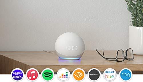 Nouvel Echo Dot (4e génération), Enceinte connectée avec horloge et Alexa, Blanc