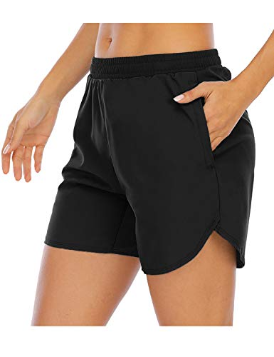 XIEERDUO Women's 5'' Athletic Running Shorts with Mesh Liner Zipper Pockets Gym Workout Training Quick Dry Black L