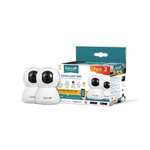 Garza Smarthome - Pack de 2 Cámaras WiFi Inteligentes 360 para Seguridad, HD 720p, visión Nocturna y Zoom, Control por Voz y App, Alexa, iOS, Google, Android
