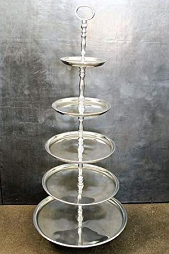 Wonderschöne große Etagere Tischdeko Tablet Silber 5 Etagen aus poliertem Aluminium. Höhe 100cm, Breite unterster Teller 40cm.