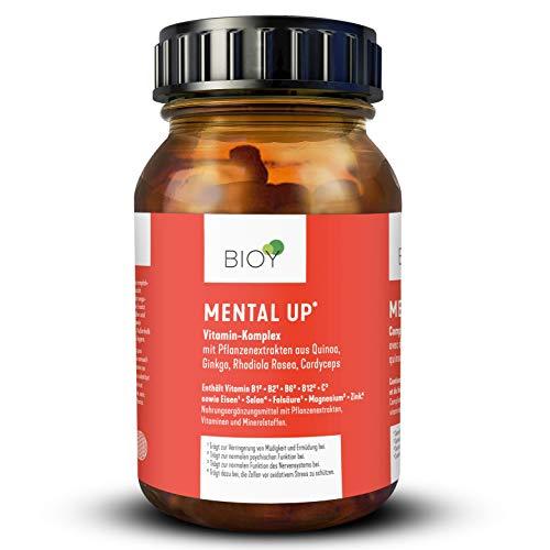 BIOY Mental UP bei Müdigkeit, Erschöpfung, Antriebslosigkeit und Stress. B-Vitamine, hochdosiert + Rhodiola rosea + Cordyceps + Mineralien für mehr mentale Stärke, bessere Leistung und Nachtruhe. 90 Kapseln, vegan, Monatspackung