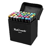 Touch Mark快速描画マークペン,40色セット,二頭書きの油性ペン,絵画、落書き、学習、芸術品の製作、アニメ芸術の設計に用いられます (黒い筆棒、黒い布の袋詰め, インテリアデザイン)