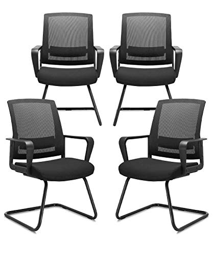 CLATINA Office Guest Chair with Lumbar Support and Mid Back Mesh Space Air Grid Series for Reception Conference Room 4 Pack