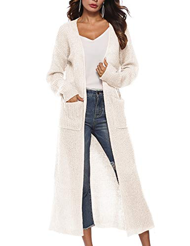 Blaward Womens Lightweight Long Sleeve Draped Open Front Long Maxi Cardigan Sweaters with Pockets, White, M