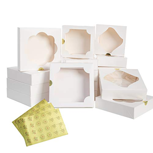24 Pcs White Paper Holiday Christmas Thanksgiving Bakery Boxes Pastry Cookie Boxes with Stickers in 2 Sizes 10X10X2.5 inch and 8X8X2.5 inch