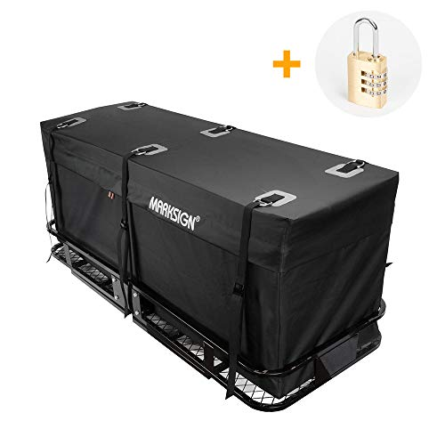 MARKSIGN 100% Waterproof Hitch Carrier Cargo Bag 59'' x 24'' x 24'' (20 Cu Ft), Waterproof Zipper and Rain Flap, 6 Lashing Straps with Cam Buckles, Zipper Lock Included