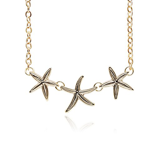 PANGRUI Simple Triple Starfish Sea Star Pendant Necklace Beach Summer Jewelry,Seaside Holiday Fresh Style Romantic Necklace (Gold)
