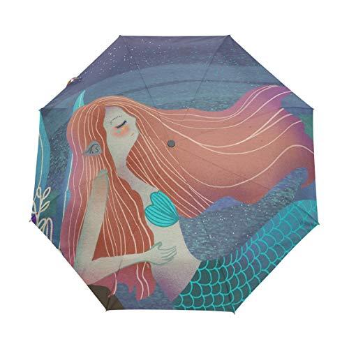 Mr.Lucien Halloween Thema Terror Atmosphäre Winddicht Automatisch Faltbar Reise Regenschirm Junge Mädchen Hexe hält Kürbis Laterne Kompakt Auto Öffnen und Schließen Regenschirm mit UV-Schutz 2021101