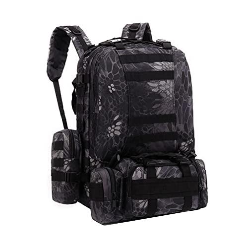 Nicebags Bolsa de senderismo y montañismo Mochila al aire libre Militar Fan Men's Combinación Bolsa grande Mochila de gran capacidad Bolsa impermeable (negro), 11, L,