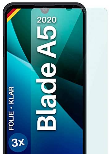 moex Klare Schutzfolie kompatibel mit ZTE Blade A5 2020 - Bildschirmfolie kristallklar, HD Bildschirmschutz, dünne Kratzfeste Folie, 3X Stück