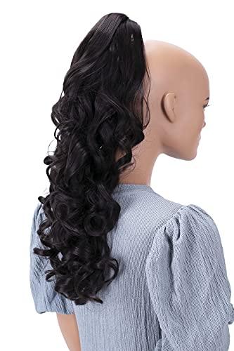 PRETTYSHOP 50cm Haarteil Zopf Pferdeschwanz Haarverlängerung Voluminös Gewellt Schokobraun H61