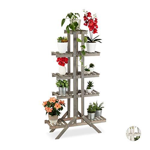 Relaxdays Blumentreppe 5 Stufen, Holz, für innen, freistehend, Shabby-Chic, HxBxT: 142 x 83 x 25 cm, Blumenregal, grau