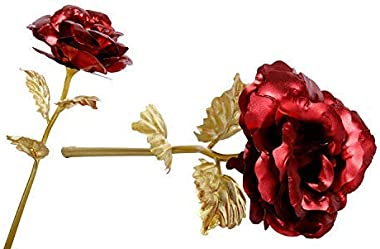 Decor India Hub Artificial Red 24K Golden Rose Flower for Valentine Day Gifts