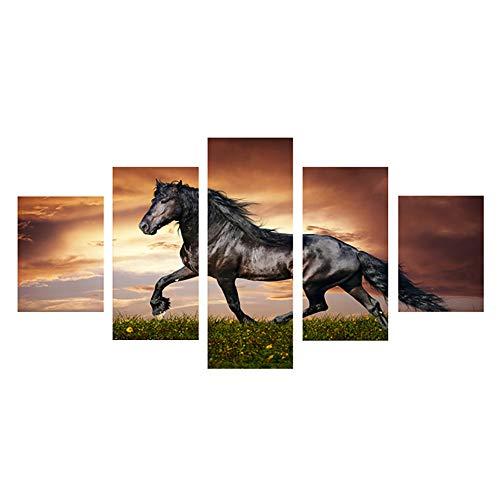 JSBVM Segeltuch HD-Drucke Bilder Wandkunst 5 Stücke Laufender Pferdetrab auf dem Feld auf Sonnenuntergang-Gras und -Blume Malerei Wohnkultur Poster,B,30×50×2 30×70×2 30×80×1