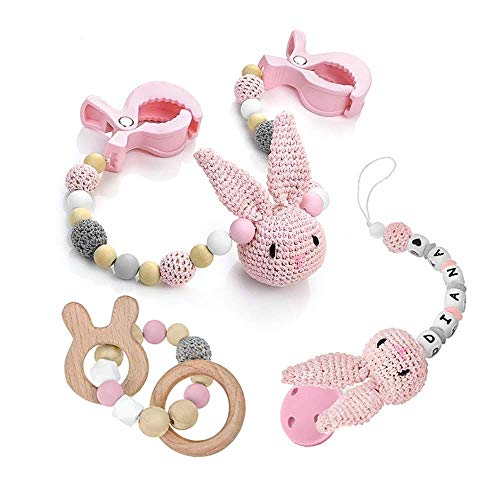 RUBY - Juguete Mordedor para Bebé, Collar de Lactancia, Pulsera De Silicona con Figuras de Dentición de madera, Cadena de Chupete de Crochet (Kit Rosa Pastel)
