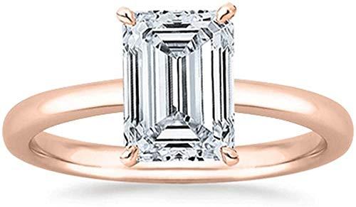 JewelsForum 14K Oro 1.00 Quilates Solitario Corte Esmeralda Anillo De Compromiso De Diamantes Naturales Anillo De Bodas Con Sello Certificado (Color Hi, Claridad I1 / I2) (Oro Rosa)
