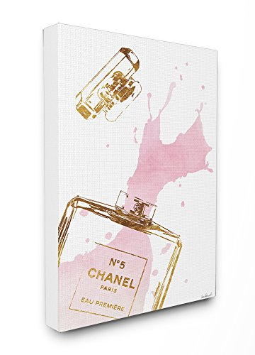 Stupell Industries Glam Parfum Fles Spatje Roze Goud Stretched Wall Art, Canvas, Multi-Colour, 40.64 x 3.81 x 50,8 cm