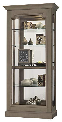 Howard Miller Caden III Curio Cabinet 680-651 – Aged Grey Finish Home Decor, Four Glass Shelves,...
