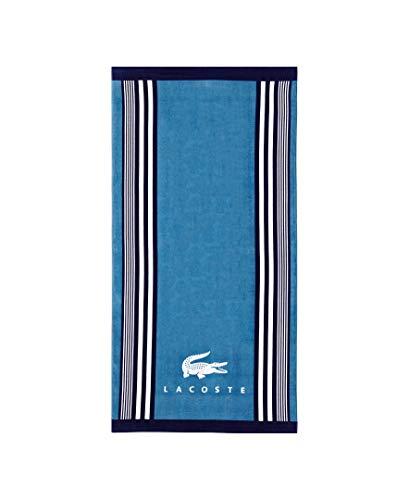 Lacoste Oki 100% Cotton Beach Towel, 36' W x 72' L, Teal/Blue Iconic
