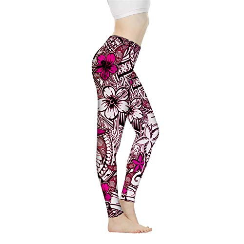 FKELYI Long Capris Womens High Waist Elastic Leggings Casual Sport Running Yoga Pants Ankle Length,Plumeria Floral with Polynesian Tribal Traditional Printed-XL Pink