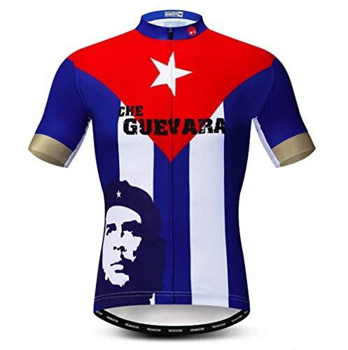 T-Shirt Herren Country Cycling Trikot Kurzarm Biking Shirts Atmungsaktiv mit Taschen,H,M