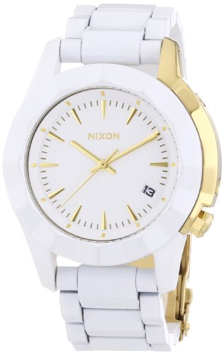 Nixon Damen-Armbanduhr Monarch All White/Gold Analog Quarz Edelstahl beschichtet A2881035-00