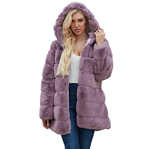 ESULOMP Womens Winter Warm Outerwear Solid Faux Coat Jacket Trench Furry Faux Turn Down Collar Outerwear Purple