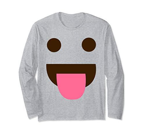 Zunge Raus Emoji Lustiges Karneval Shirt Faschings Kostüm Langarmshirt