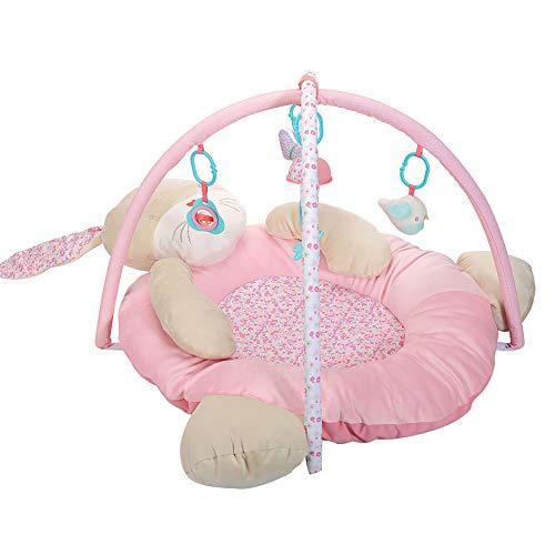 LIGHTOP 3D Activity Nest Kaninchen mit 5 abnehmbaren Spielzeugen Besonders weicher Spielbogen Spielbogen für Babys Spiel & Spaß von Geburt an(95x75x50cm)
