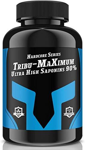 TRIBU-MAXIMUM - 240 Tabletten für 60 Tage Versorgung   Hardcore Series Hochdosiert   Ultra High Saponin 90%   100 % Vegan - Muskelaufbau + Potenz   Premium Qualität