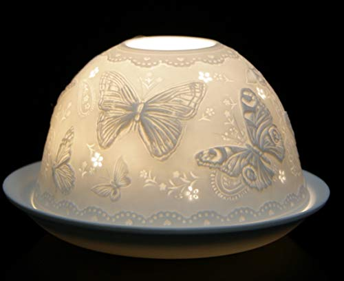 Nordic Lights Tealight Candle Holder, Set of Shade & Plate, Butterfly Living, Dining Room Table, Home Decor Accessories-Porcelain-One Size, Ceramic, White