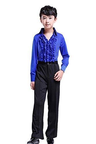 XFentech Niños Cuello V Mangas Largas Latín Baile Moda Camisa Actuación Ropa Escénica Disfraces Clásico Bailando Jazz Trajes, Azul, 150/Altura Adecuada-140-145cm