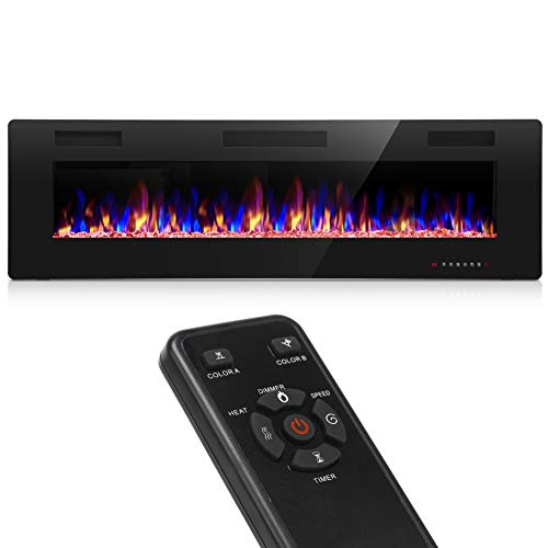 Homevibes 60 Inches Recessed Electric Fireplace Insert and Wall Mounted Electric Fireplace Heater Faux Fireplace with Remote Control and Touch Screen 750W/1500W (Low Noise)