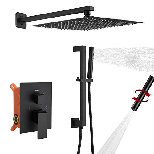 BESy Shower System with Adjustable Angle Slide Bar, 12 Inch Rain Shower Head and Wand Wall Mounted, Rainfall Shower Faucet Fixture Combo Set, 2 in 1 Handheld Showerhead for Bathroom, Matte Black