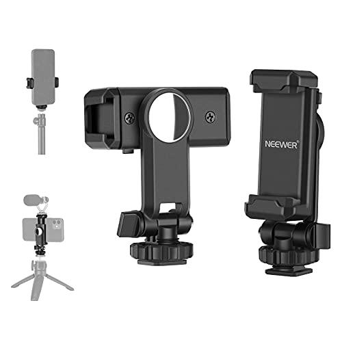 """Neewer Supporto Clip per Smartphone con Specchio, Girevole a 360° per Treppiede Bastoncino da Selfie, con Slitta Coldshoe Foro Filettato 1/4"""", Compatibile con iPhone Android di 5,2-10cm in Larghezza"""
